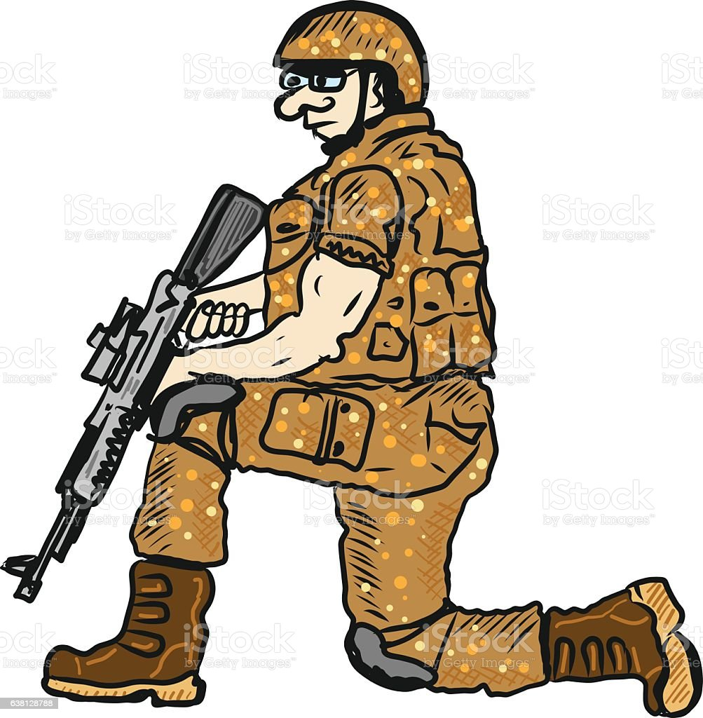soldier on duty with a rifle sketch illustration clipart stock rh istockphoto com clipart soldier silhouette clipart soldier black and white