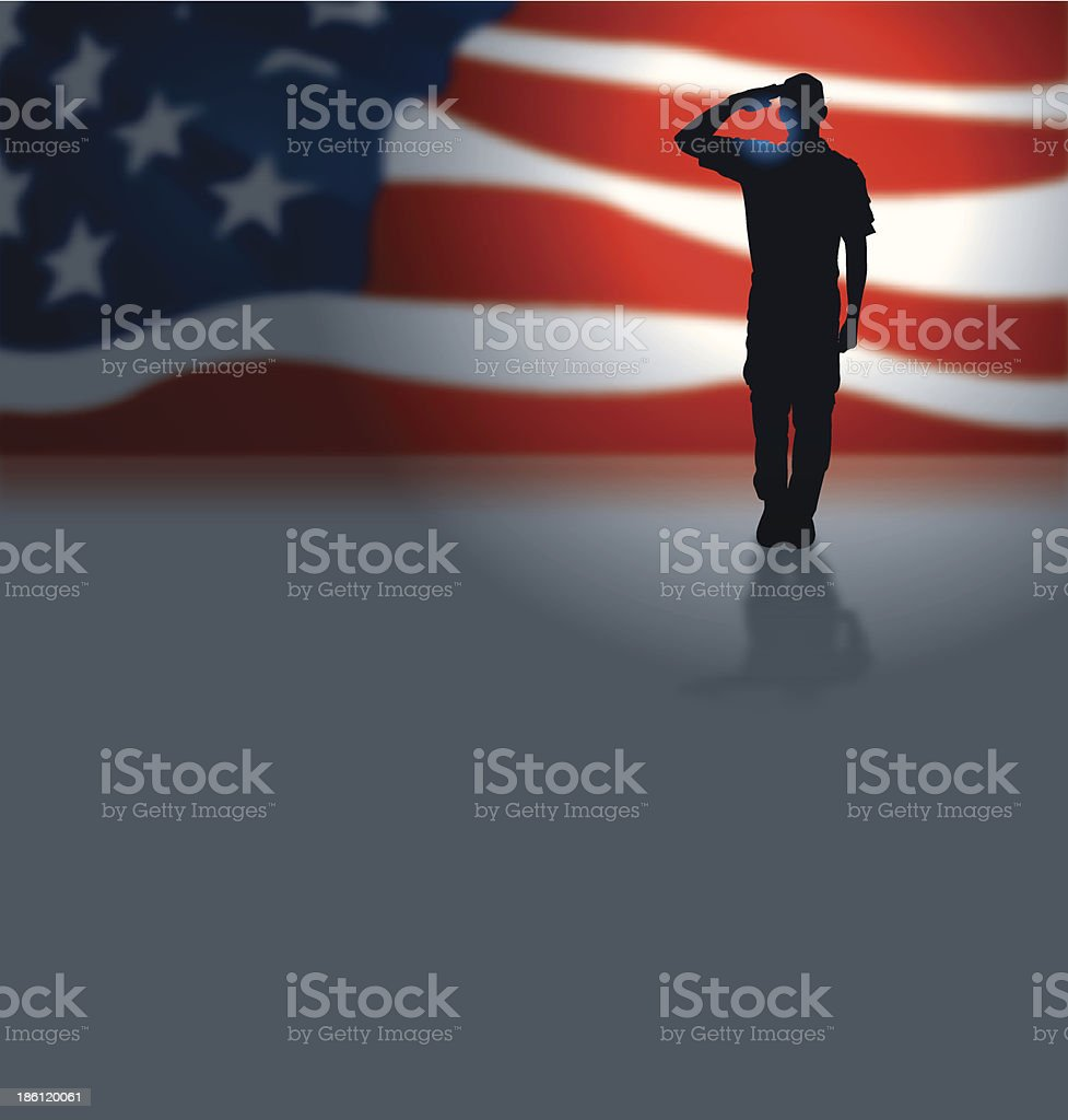 USA Soldier or Boy Scout Salute Background vector art illustration