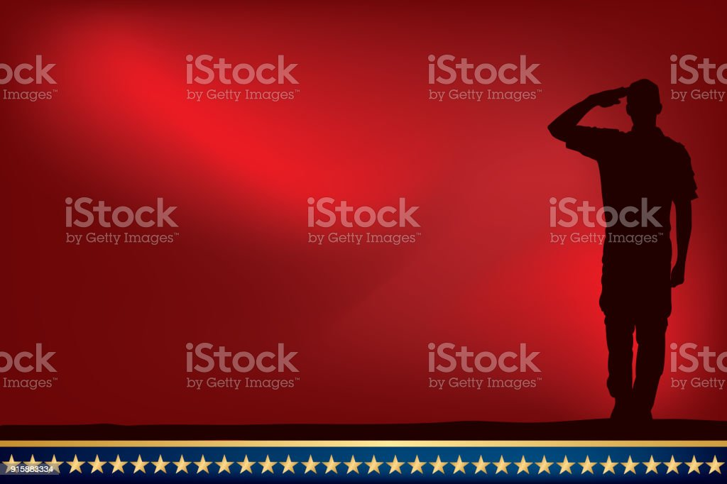 US Soldier or Boy Scout Saluting at Sunset or Dawn vector art illustration