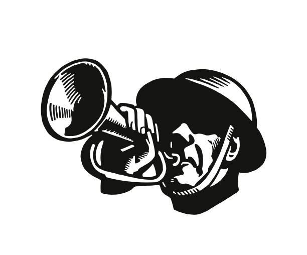 Soldier Playing a Bugle vector art illustration
