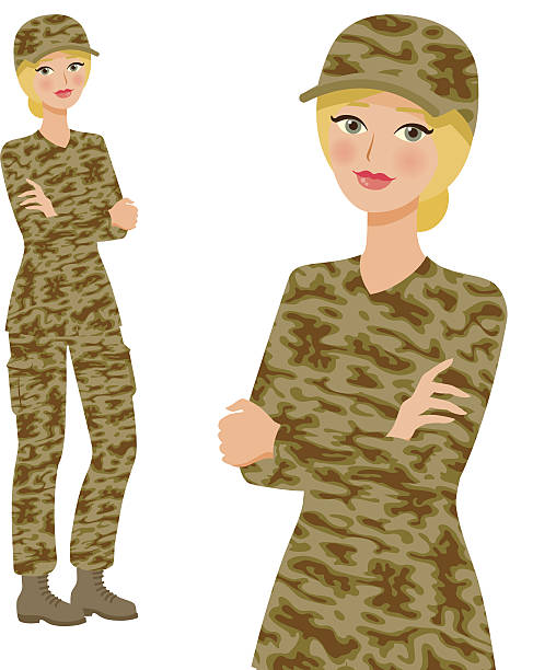 soldier professional woman icons, full body and waist up - postal worker stock illustrations
