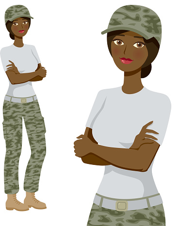 Soldier Professional Woman Icons, Full Body and Waist Up