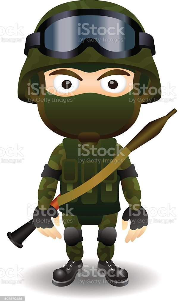 Soldier Rpg Military Character Combat Black Mask Male Stock