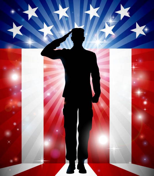 US Soldier Salute Patriotic Background vector art illustration