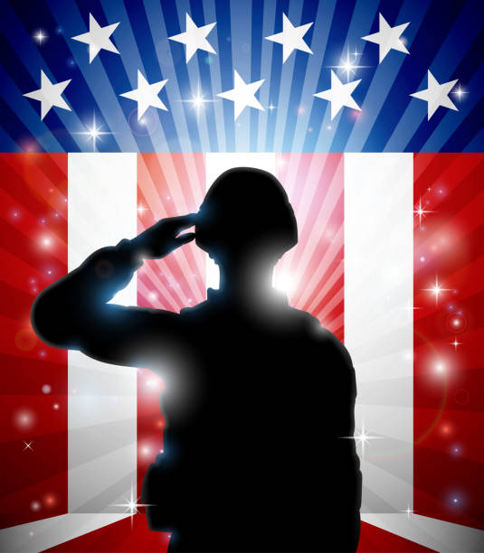 Soldier Saluting American Flag Background A patriotic soldier standing saluting in front of an American flag background saluting stock illustrations