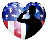 A soldier saluting in a patriotic American flag heart