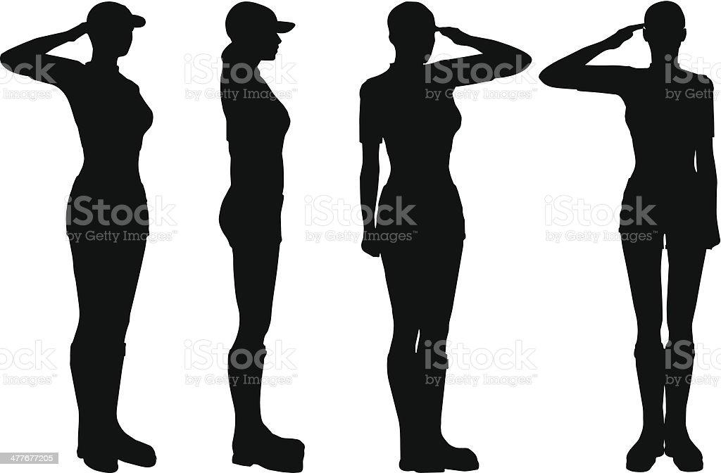 Soldier saluting vector art illustration