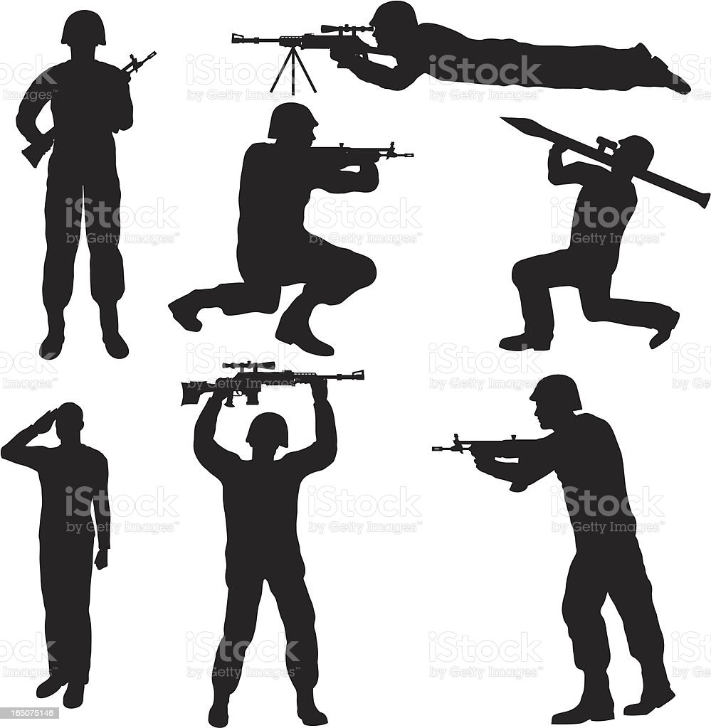 Soldier Silhouette Collection (vector+jpg) vector art illustration