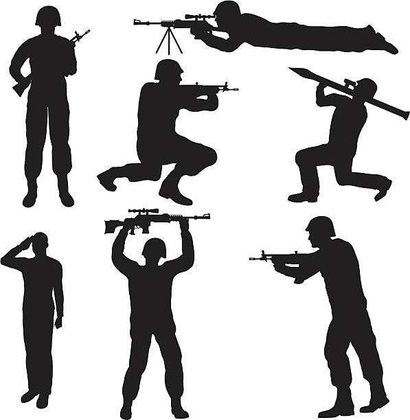 soldier silhouette collection (vector+jpg) - army soldier stock illustrations, clip art, cartoons, & icons