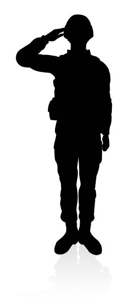 soldier silhouette - army soldier stock illustrations, clip art, cartoons, & icons