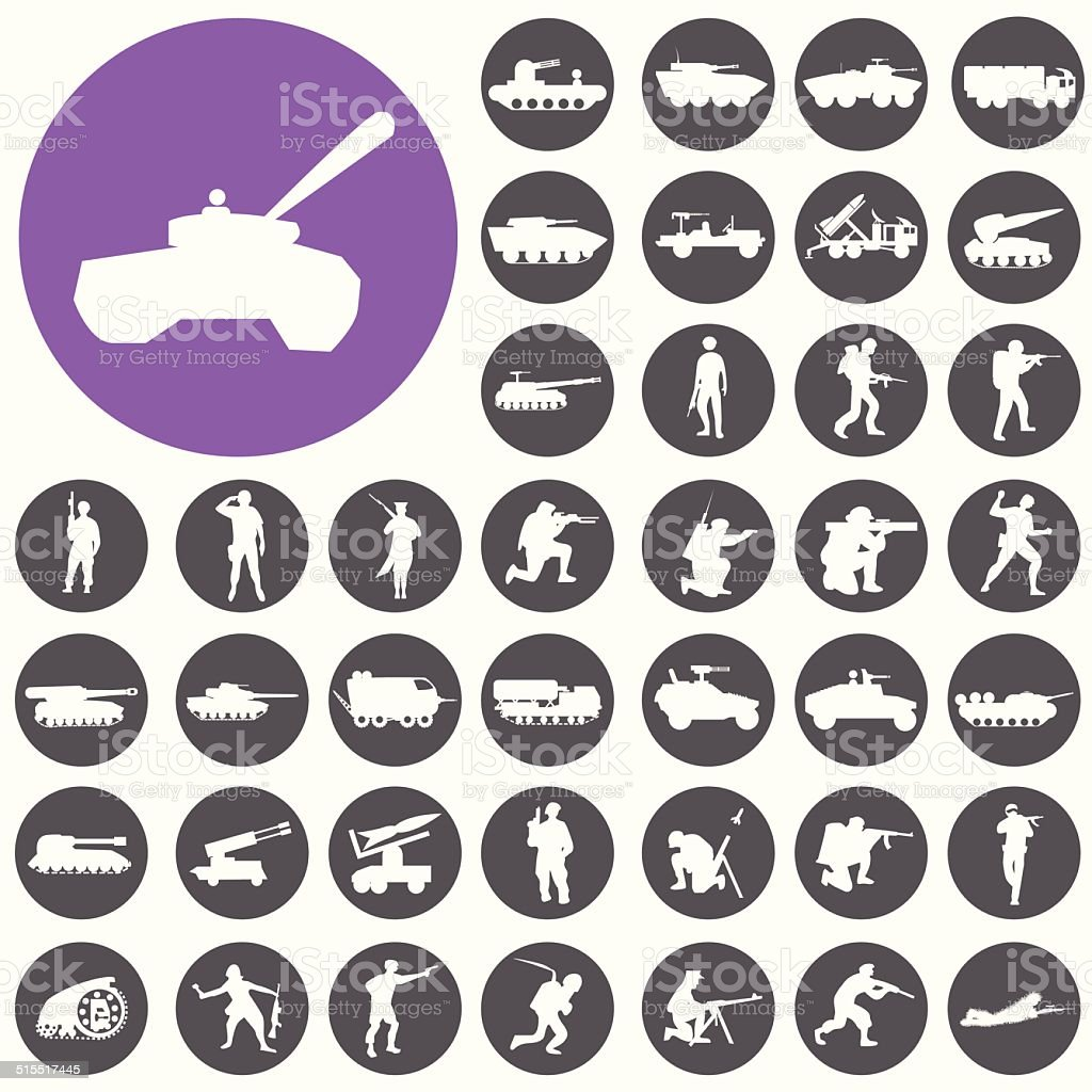 Soldaten tank-icons set.  Illustration eps10 – Vektorgrafik