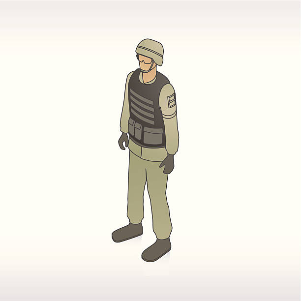 soldier with combat gear illustration - postal worker stock illustrations