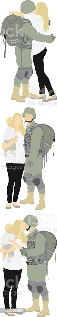 Soldier with family vector art illustration