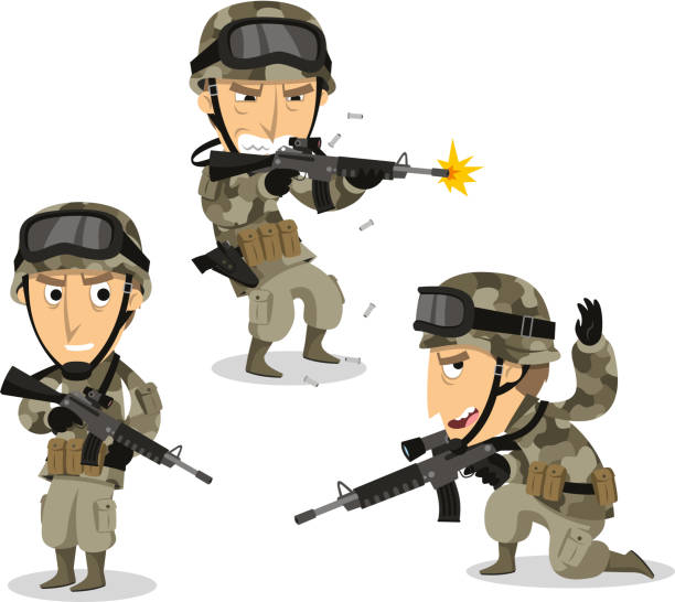 Soldier with machine gun helmet war uniform standing Soldier with machine gun helmet war uniform standing, vector illustration cartoon.  uniform cap stock illustrations