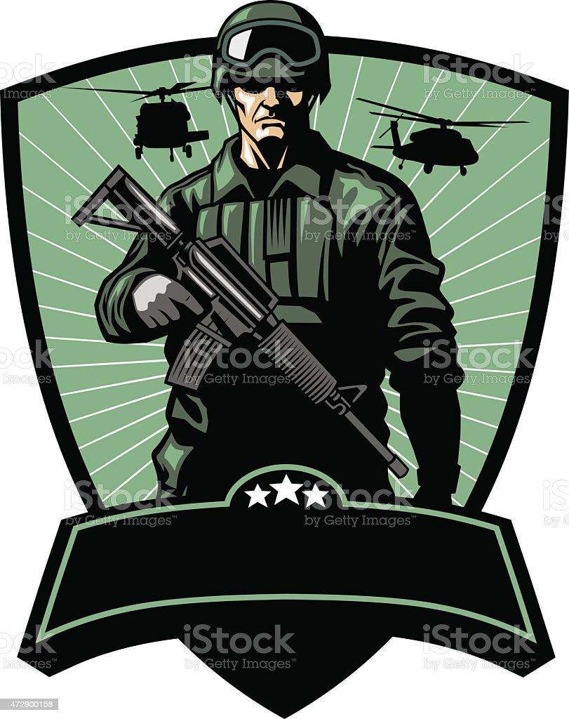 Soldado con un arma - ilustración de arte vectorial