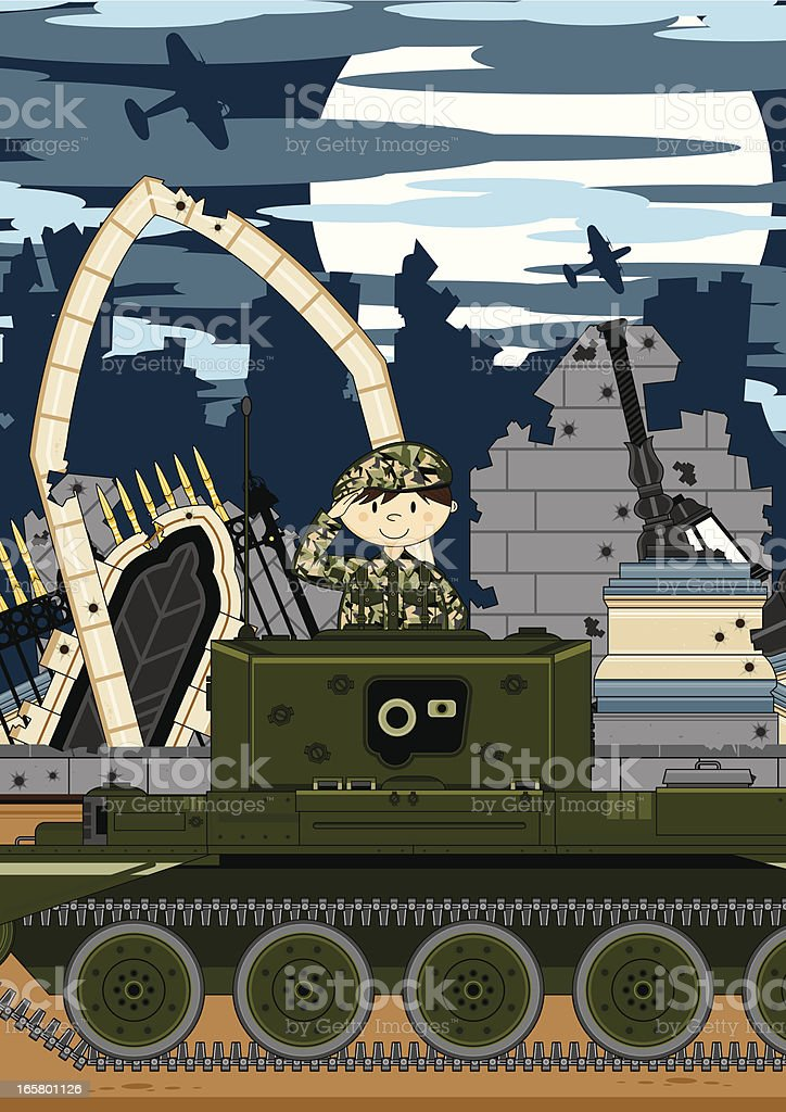Soldier with Tank in Ruined City royalty-free soldier with tank in ruined city stock vector art & more images of airport departure area