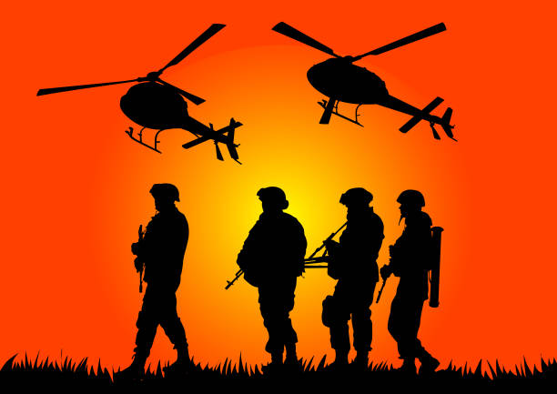 ilustraciones, imágenes clip art, dibujos animados e iconos de stock de soldados y helicópteros - personal militar