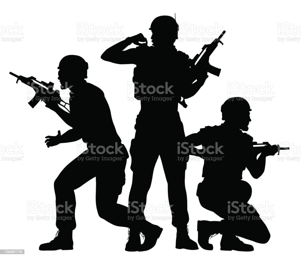 Soldiers fighting together vector art illustration