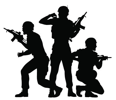 士兵們戰鬥在一起向量圖形及更多三個人圖片