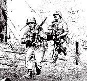 Soldiers in Combat Running Through Sniper Gunfire