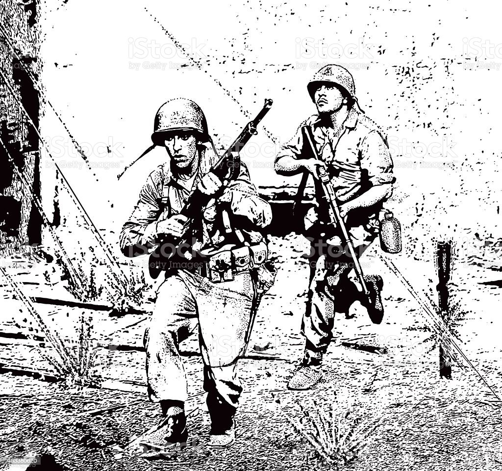 Soldiers in Combat Running Through Sniper Gunfire vector art illustration