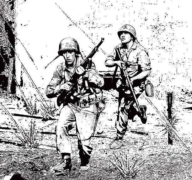 soldiers in combat running through sniper gunfire - world war ii stock illustrations, clip art, cartoons, & icons