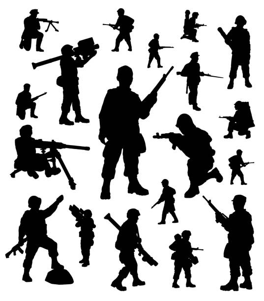 soldiers silhouettes collection - army soldier stock illustrations, clip art, cartoons, & icons