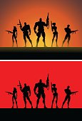 A set of vector illustration of a team of soldiers pose in silhouette. Easy to grab and edit. Wide space available for our copy.