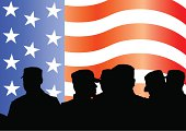 Soldiers under American flag