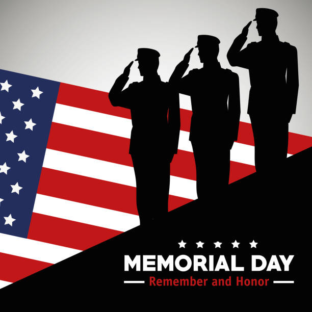 soldiers with usa flag to celebrate memorial day vector art illustration