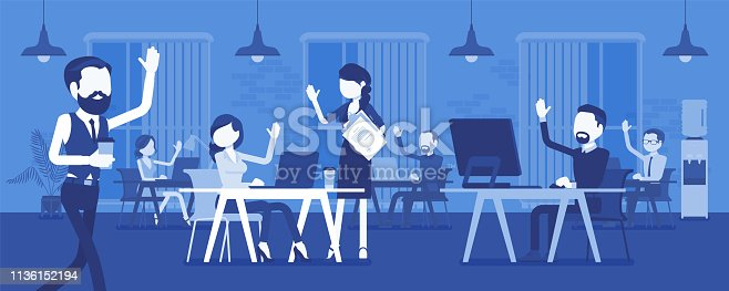 Solid and high performing team in office. Group of people working together effectively for a common business goal, achieve good results, employees and manager. Vector illustration, faceless characters