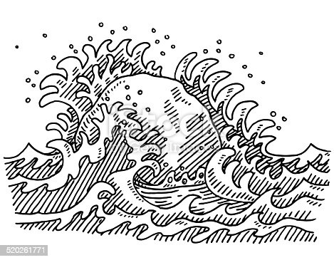 Hand-drawn vector drawing of a Rock in the Breakwater. Solid As A Rock Concept Image. Black-and-White sketch on a transparent background (.eps-file). Included files are EPS (v10) and Hi-Res JPG.