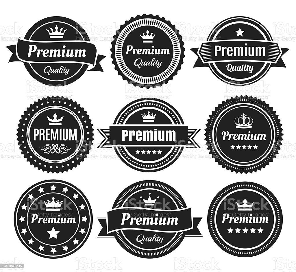 Solid Color Premium Quality Badges vector art illustration
