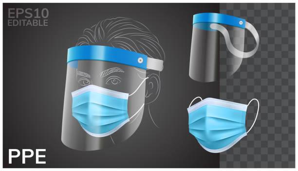 illustrazioni stock, clip art, cartoni animati e icone di tendenza di solid face shield and medical mask in isolated vector - mask surgery