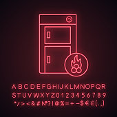 Solid fuel boiler neon light icon with glowing alphabet, numbers and symbols. House central heater. Firewood boiler. Heating system