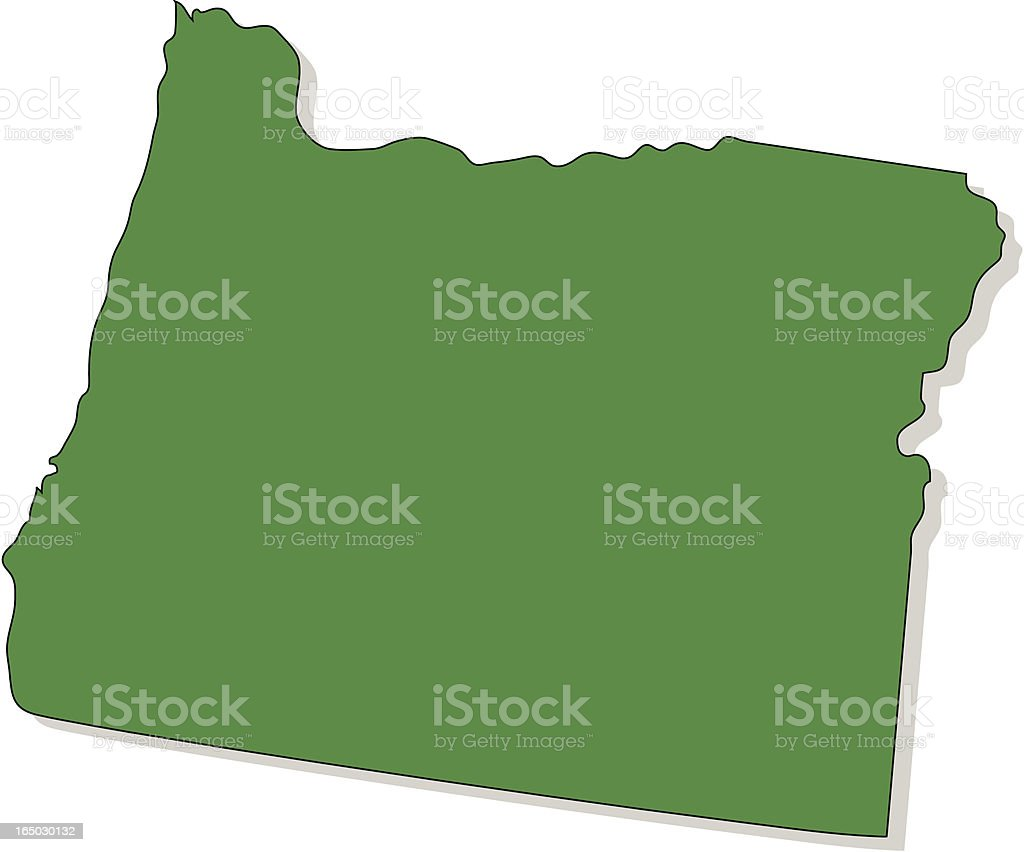Solid green silhouette of state of Oregon royalty-free stock vector art