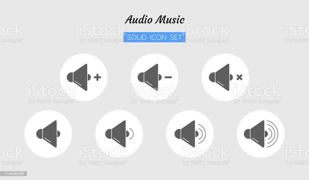 Solid Icon Symbol Set Audio Sound Volume Level Control