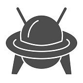 UFO solid icon, transportation symbol, Flying Saucer vector sign on white background, Ufo spaceship icon in glyph style for mobile concept and web design. Vector graphics