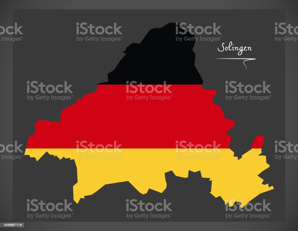 Solingen map with German national flag illustration vector art illustration