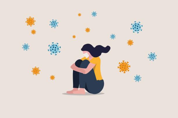 einsamkeit und depression von sozialer entfernung, isoliert bleiben zu hause allein in covid-19 coronavirus-krise, angst vor virusinfektion, traurige unglücklich depressive mädchen sitzen allein mit virus-erreger - depression stock-grafiken, -clipart, -cartoons und -symbole