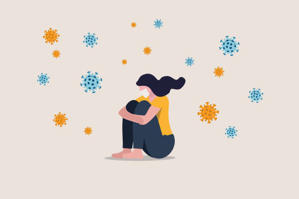 ilustrações de stock, clip art, desenhos animados e ícones de solitude and depression from social distancing, isolated stay home alone in covid-19 coronavirus crisis, anxiety from virus infection, sad unhappy depressed girl sit alone with virus pathogens - coronavirus
