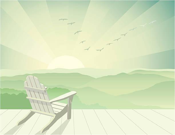 Solitude Calm, restful scene with Adirondack chair. adirondack chair stock illustrations
