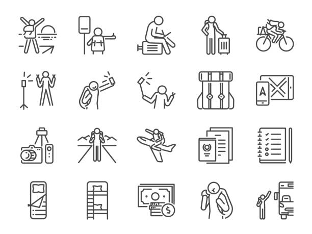 solo traveler line icon set. included icons as travel, vacation, tour, transport, holiday, tourism and more. - tourist stock illustrations