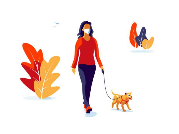 ilustrações de stock, clip art, desenhos animados e ícones de solo woman wearing face mask with dog walking isolated on white background - covid hair