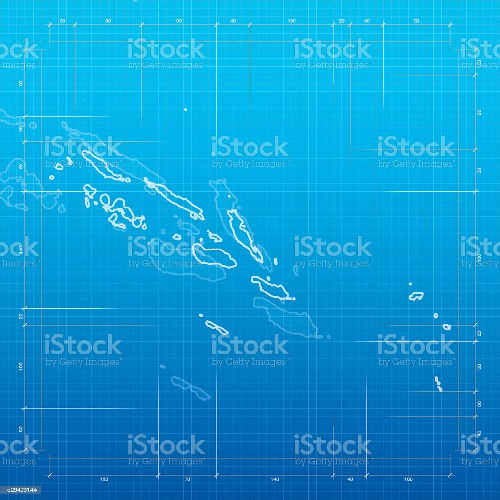 Map of Solomon Islands isolated on a realistic blueprint with
