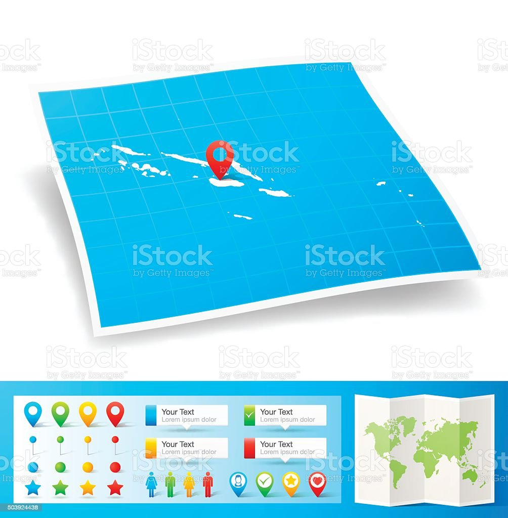 Solomon Islands Map With Location Pins Isolated On White