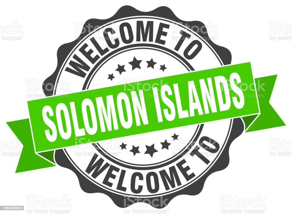 Wyspy Salomona okrągła pieczęć wstążki - Grafika wektorowa royalty-free (Białe tło)