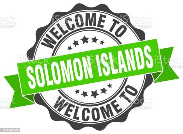 Wyspy Salomona Okrągła Pieczęć Wstążki - Stockowe grafiki wektorowe i więcej obrazów Białe tło