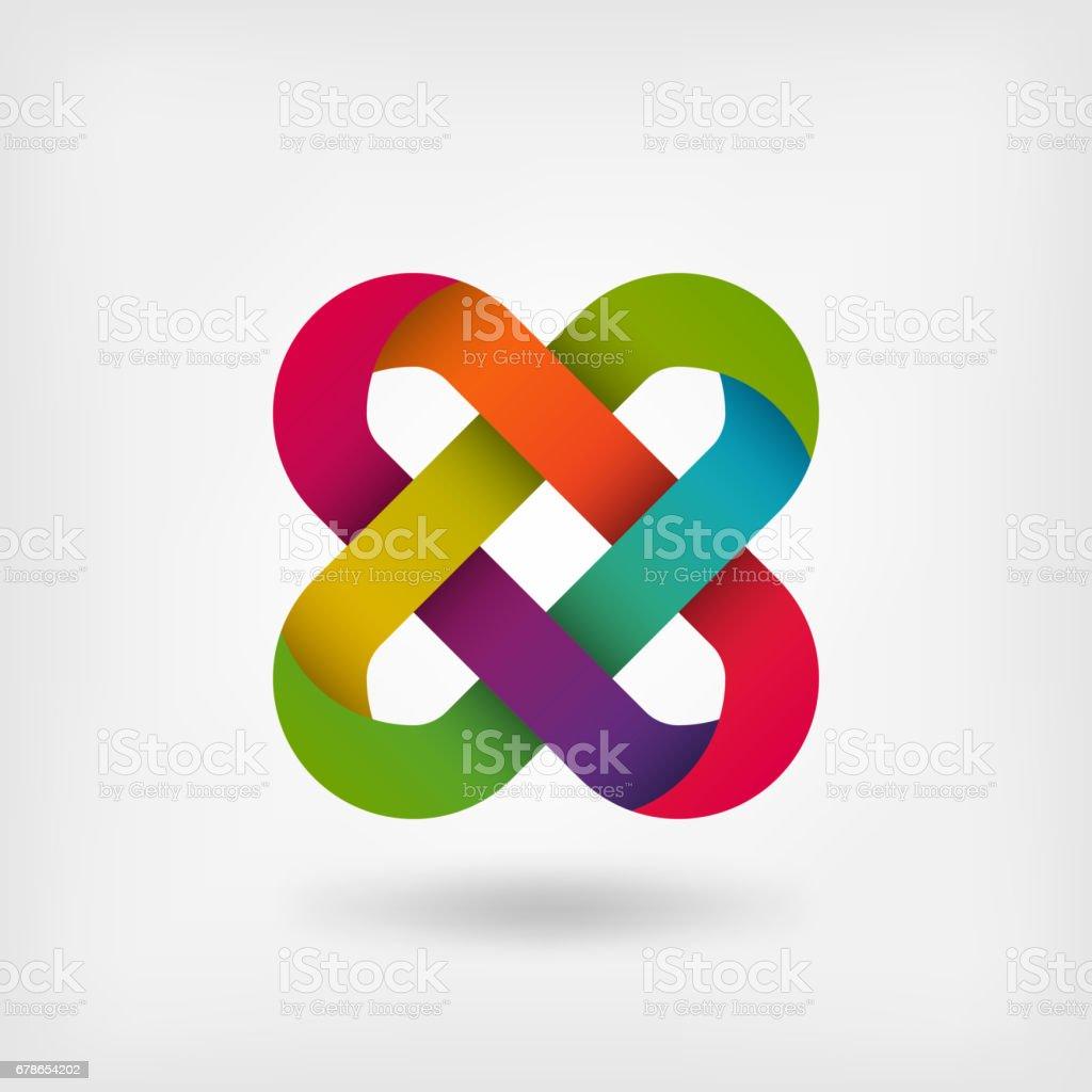 solomon knot in rainbow colors vector art illustration