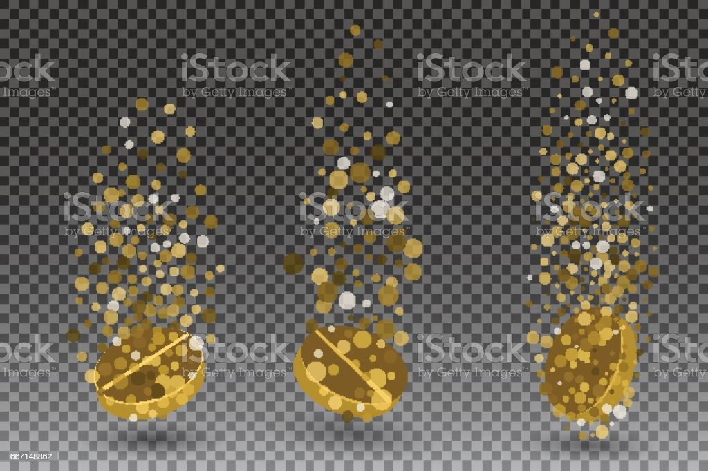 Soluble drug with fizzy trace isolated on checkered background, vector illustration. Vitamin in water effervescent , three dissolving tablets vector art illustration